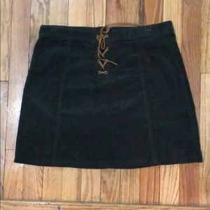 Corduroy lace up skirt